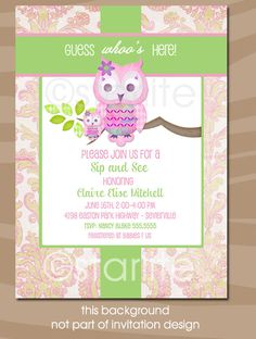 Owl SIP and SEE invitation - Majestic Owl Pink Green - Shabby Chic - Sip and See Baby Girl - Baby Girl Shower - PRINTABLE. $15.00, via Etsy.