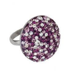 Ring 925 Sterling Silber rhodiniert mit Kristallsteinen Größe Ø ca. 25mm