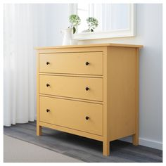 IKEA - HEMNES, chest, yellow, Of course your home should be a safe place for the entire family. That's why hardware is included so that you can attach the chest of drawers to the wall. Made of solid wood, which is a durable and warm natural material. Yellow Chest Of Drawers, Yellow Dresser, White Chests, Ikea Yellow, Ikea Tarva Dresser, Painted Chest, 3 Drawer Chest, Rack, Bedroom Decor