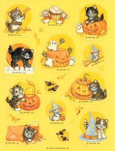 1986 Hallmark Halloween Kitten & Mice Stickers. If you did really well on a test, the teacher would put one of these on the top of your paper!