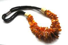 Necklace Baltic Amberblack rope