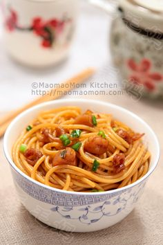【Noodles in savory dried scallop and shrimp sauce】  by MaomaoMom This is a simple but delicious noodle dish. The sauce is made with dried scallop and shrimp, green onion, soy sauce and sesame oil, very tasty.