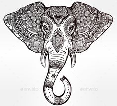 Tribal Vector Elephant With Tribal Ornaments. — JPG Image #ornate #coloring • Available here → https://graphicriver.net/item/tribal-vector-elephant-with-tribal-ornaments-/16148710?ref=pxcr