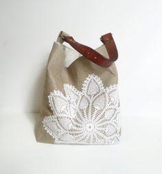 Hobo Bag Linen Burlap and Vintage Doily - Large Box Bottom Tote - Linen Bag - Bucket Bag