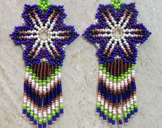 Mexican Huichol Flower Earrings Blue Purple Green