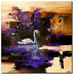 Canvas Art, Modern Wall Art, Stretched, Embellished & Ready-to-Hang Print - Swan Song - Art by Osnat Swan Painting, Modern Painting, Landscape Paintings, Cityscape Art, Fine Art, Abstract Painting, Painting, Art, Abstract