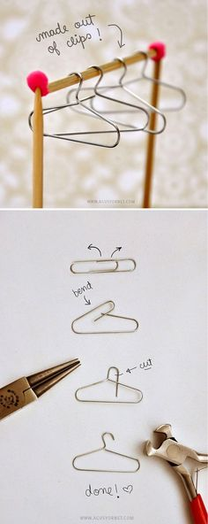 Cool Mini Homemade Crafts and Scrapbook Ideas | DIY Mini Hangers by DIY Ready are also great as Barbie doll accessories!