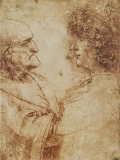 Heads of an old man and a youth by Leonardo da Vinci Date: Milan, Italy Style: High Renaissance Genre: portrait Media: chalk, paper Dimensions: x 15 cm Location: Uffizi Gallery, Florence, Italy Renaissance Kunst, Italian Renaissance, Michelangelo, Leonardo Da Vinci Dibujos, Art Ancien, Drawing Exercises, Oil Painting Reproductions, Museum Of Fine Arts, Figure Drawing