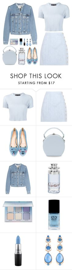 """cropped pastel"" by bodangela ❤ liked on Polyvore featuring Proenza Schouler, Balmain, Charlotte Olympia, Handle, Acne Studios, Cartier, Anastasia Beverly Hills, Eve Snow, MAC Cosmetics and Natasha"