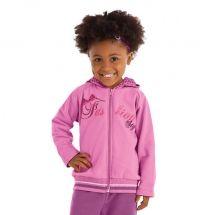 Conjunto infantil feminino confeccionado em moletom felpado. Casaco com zíper, capuz e estampa. Calça lisa. Disponível nos tamanhos 1-2-3-4-6-8-10.