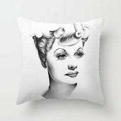 Lucille Ball Minimal Portrait Throw Pillow