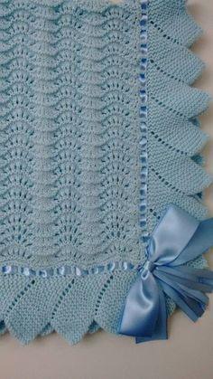 White crochet christening baptism baby blanket with fancy edge Easy Crochet Blanket, Baby Afghan Crochet, Knitted Baby Blankets, Baby Afghans, Crochet Blanket Patterns, Boy Crochet, Lace Knitting Patterns, Baby Knitting, Free Knitting