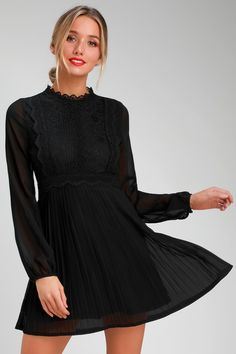 You ll be pretty as a picture in the Lulus Charlisa Black Lace Long Sleeve 0393b7749652