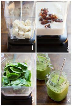 Smoothie verde para el desayuno: 1 plátano, 1 ½ taza de leche de almendra sin endulzar, 3-4 ciruelas pasa sin semilla, 2 tazas de espinacas.