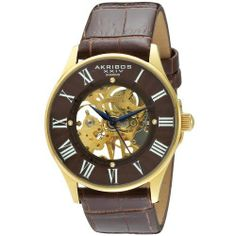 Akribos XXIV Men's AK499YG Slim Mechanical Watch Akribos XXIV. $99.00. Brown guilloche outer and inner skeletal dial. Akribos xxiv men's mechanical watch. Gold-tone stainless steel, slim, round case. Four genuine diamonds on the dial. Black genuine leather strap with crocodile pattern