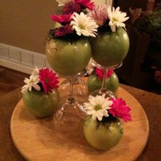 Apple vases and wine glass stands