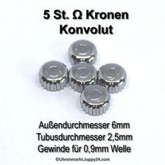 Konvolut 5 Stück Edelstahl- Kronen mit Omega Zeichen signiert nur