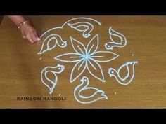 Duck kolam design with dots - Simple Bird Rangoli designs with dots - Beautiful Muggulu designs