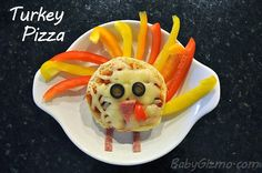 Turkey Pizza for the kids #thanksgiving