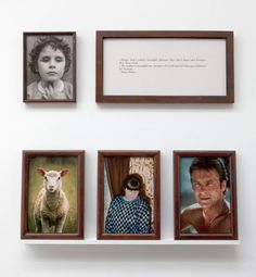 """SOPHIE CALLE """"The Blind. Sheep, Delon, my mother"""" 1986  one framed text, one framed b/w photograph, three framed colour photographs, one shelf. / un texte encadré, une photographie n/b encadrée, 3 photographies coul. encadrées, une tablette.  40 x 80 cm (framed text), 41 x 31,5 cm (framed b/w photograph), 51 x 37 cm (each framed colour photograph). / 40 x 80 cm (texte encadré), 41 x 31,5 cm (photographie N/B encadrée), 51 x 37 cm (chaque photographie coul. encadrée) 1/1 ENG + 1 complete set"""