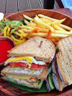 scrumptious club sandwich at Azure Bar #conradbali