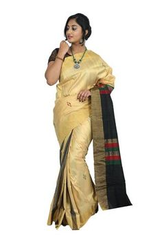 Shining Sandal with Black Handloom Khadi Silk Saree