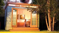 Exterior:Cool Glass Door And Armless Chair Feat Striped Exterior Wall Or Flat Roof On Modern Shed Design Custom Modern Backyard Shed Ideas for Your Hobby Backyard Office, Backyard Studio, Modern Backyard, Garden Office, Architecture 3d, Studio Shed, Modern Shed, Shed Design, Garden Design
