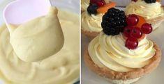Univerzálny vanilkový krém do všetkých koláčov - Receptik.sk Sweet Recipes, Picnic, Food And Drink, Pudding, Cupcakes, Cream, Drinks, Hampers, Bakken