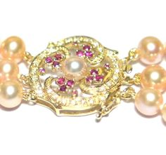 18K Solid Gold Diamond Ruby Clasp Cultured Pink Pearls Triple Necklace