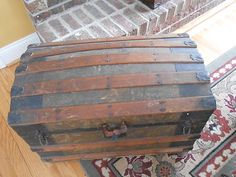 bb3548b5c5b1 Antique Victorian Age Oak and Metal Dome Top Trunk Chest
