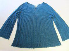 DressBarn Sweater Shirt 2X LS Long Sleeve Blue Sparkle Sheer #DressBarn #Keyhole