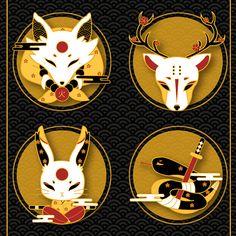 Familiar Spirits - Gold Plated Hard Enamel Pins by Xiune on Etsy Kitsune Mask, Arte Do Kawaii, Japanese Mask, Japon Illustration, Pin Art, Pin And Patches, Hard Enamel Pin, Metal Pins, Cute Pins