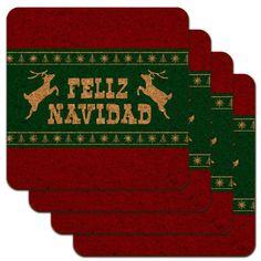 Feliz Navidad With Deer Merry Christmas Low Profile Novelty Cork Coaster Set