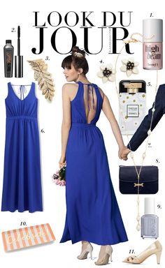 Blue midi dress+nude pumps+black shoulder bag. Summer night outfit 2016