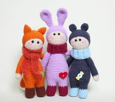 New portion of animalistic dolls Find amigurumi pattern here >> https://amigurumi.today/dolls-wearing-animal-costumes-crochet-pattern/