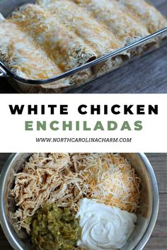 Made with only 6 ingredients my white chicken enchiladas are a main go to in my house when i m looking for a quick meal with minimal prep it is the perfect easy recipe to make for a busy weeknight chickenrecipe delicious easymeal Easy Dinner Recipes, Gourmet Recipes, Mexican Food Recipes, Easy Meals, Cooking Recipes, Healthy Recipes, Kid Meals, Simple Easy Recipes, Cheap Easy Dinners