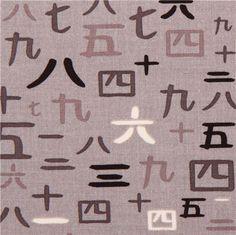 grey Ninja Number Chinese numbers fabric Riley Blake Year Of The Ninja 1