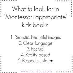 Montessori appropriate kids books | Racheous - Lovable Learning