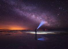 Milky way over Bonneville Salt Flats