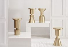 Original Chess Piece Stools:cold rolled steel then brass plated & finished with a hand rubbed patina / Walnut Chess Piece Stools: Walnut, sealed with a clear lacquer, they are water resistant …