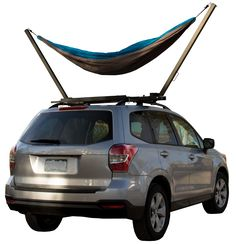TrailNest Roof Top Hammock Stand, with hammock of choice connected to the hang points