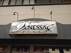 "Vanessa's Bistro 2, the #Vietnamese tapas-style restaurant located in downtown Walnut Creek, recently replaced their sign and got rid of the ""2″, although it looks like it's still in their name officially. It looks cool using the #distressedmetal for the #backing."