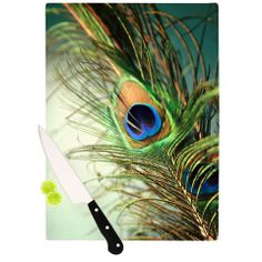 """Sylvia Cook """"Teal Peacock Feather"""" Cutting Board 
