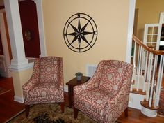 Two Hartwell Chairs By: Andrea Ciano Aciano@pineville.ethanallen.com Photo Credit: Andrea Ciano Tasteful, Interior Design, Furniture, Home Decor Decals, Chair, Home, Interior, Home Decor