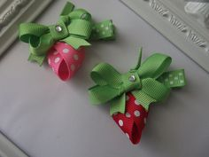 Strawberry Ribbon Sculpture Hair Clip. Strawberry by creationslove, $3.00