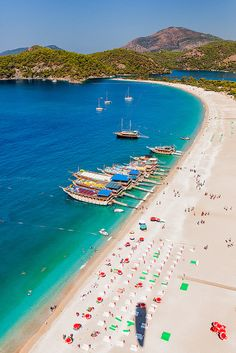 Aerial view of the beach resort and lagoon known as Oludeniz at the  coast of the Mediterranean sea in Oludeniz, Turkey