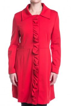 Type 4 Cory Coat In Red - $62.97 A fitted trench coat in bold red for those dressy occasions, or every day occasions. The ruffled detail down the front adds a stylish detail while the classic cut makes it versatile to wear everywhere from the opera to the ball game.