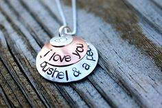 """My gramma used to sing this to me... I miss her so much....     Hand stamped copper and sterling silver domed pendant necklace....""""I love you a bushel & a peck"""". $42.00, via Etsy."""