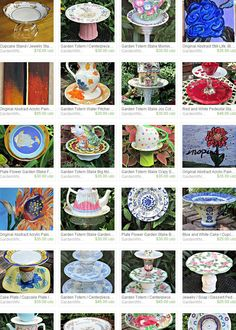 "GardenWhimsiesByMary's Etsy Shop - Creating fun, whimsical art for your garden and home is a passion. Orphaned ceramics and vintage glassware are my medium. It gives me great joy to transform ""found"" pieces into unique, upcycled, one of a kind art."