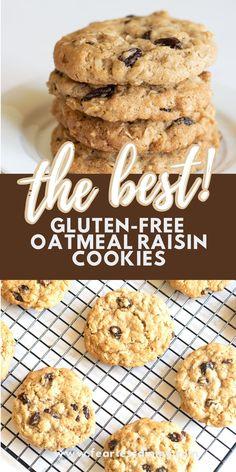 Dairy Free Oatmeal Raisin Cookies, Gluten Free Oatmeal Cookie Recipe, Dairy Free Cookies, Healthy Oatmeal Cookies, Gluten Free Cookie Recipes, Flourless Oatmeal Cookies, Drop Cookie Recipes, Breakfast Cookie Recipe, Easy Gluten Free Desserts